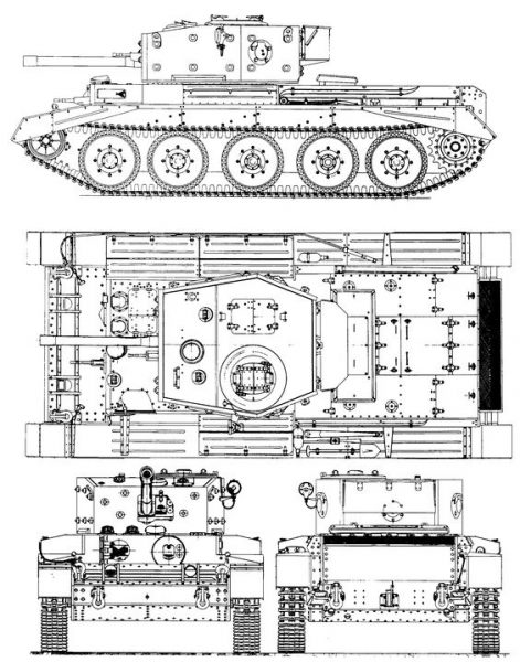 Cromwell has a classic layout. The crew consists of five people. Initially, the frame was made of riveted construction, but later welding was used. The boxy turret sat above the central fighting compartment, isolated both from the engine and front compartments.