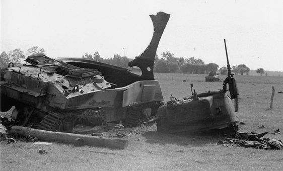 Incredible forces at play to destroy a 34 ton tank like this Commonwealth Sherman III (M4A2).