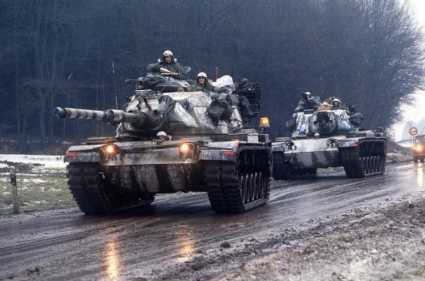 Two M60A3TTSs of the US Army near Giessen, West Germany 1985