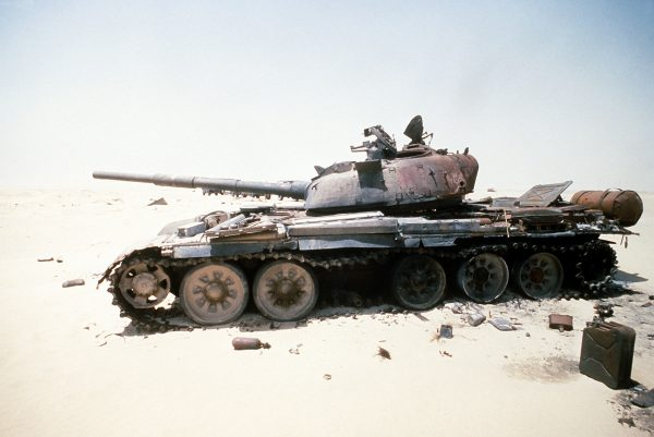 Iraqi 'Saddam' main battle tank destroyed in a Coalition attack during Operation Desert Storm.