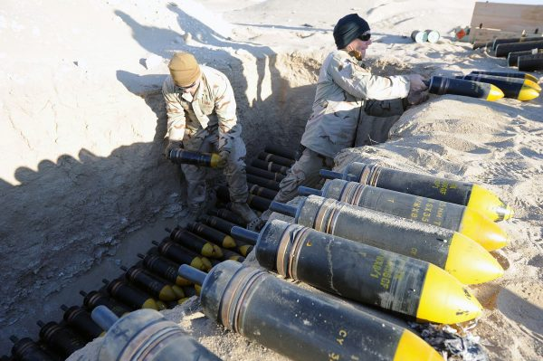 105 mm HESH rounds being prepared for disposal by the US Navy, 2011