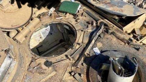 Damaged tank from training at Fort Bliss