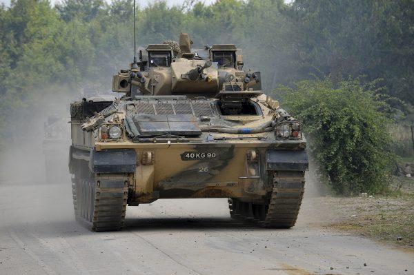 A Warrior on Salisbury Plain during Exercise Lion Strike