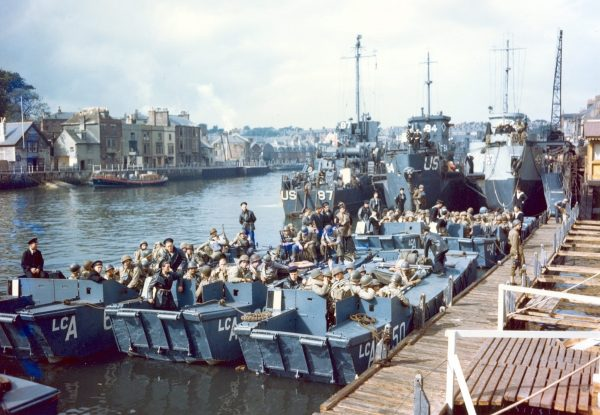 British landing craft, US Army troops, and US Coast Guard LCI(L)s staged at Weymouth, Dorset, England, United Kingdom prior to the Normandy invasion, June 1944.