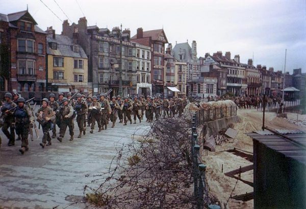 The 2nd Battalion US Army Rangers march to their landing craft in Weymouth, England. They were tasked with capturing the German heavy coastal defence battery at Pointe du Hoc.