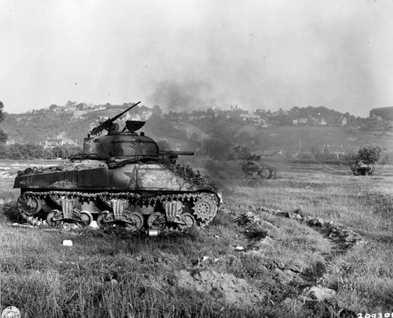Burned out M4 Sherman, Normandy