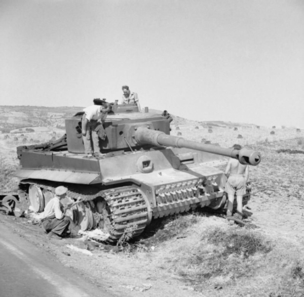British troops inspecting a knocked out Tiger