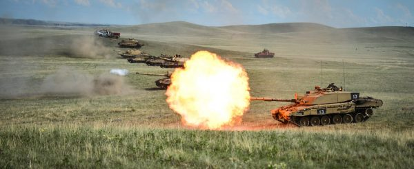 Challenger 2s of the Royal Welsh Battle Group on Exercise in Canada.