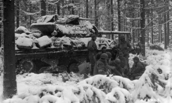 629th Tank Destroyer Battalion near Courtil, Belgium 20 January 1945