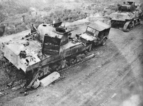 Two knocked out Commonwealth Sherman IIIs (M4A2s)