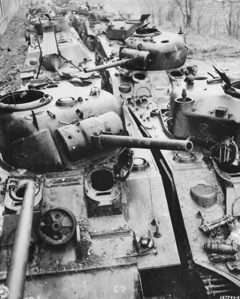 Shermans recovered from the battlefield