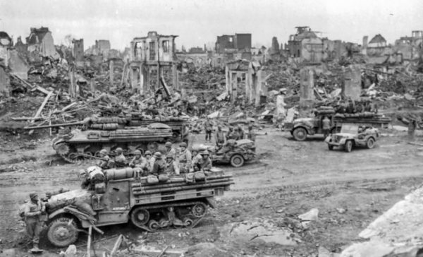 8th Infantry Division halted inside the ruins of Duren during Operation Grenade 23 February 1945
