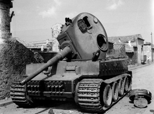 Knocked out Mk VI Tiger tank at Belpasso, Sicily,