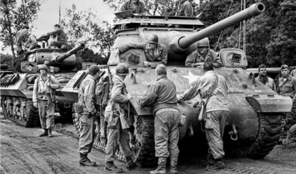 A column of M36 tank destroyers