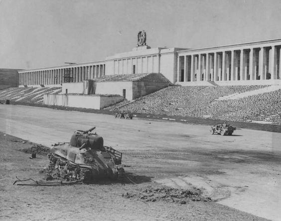 M4A1 Sherman wreck at Nuremberg, 1945