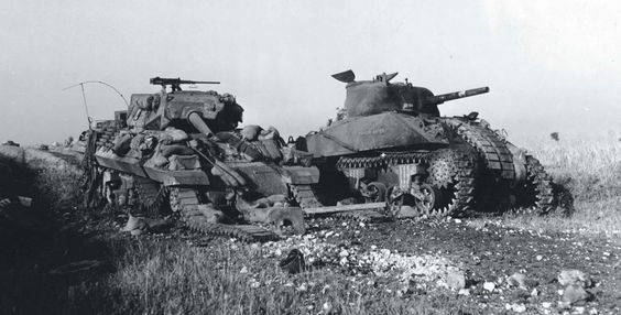M4A1 Sherman and an M10 Tank Destroyer, MTO
