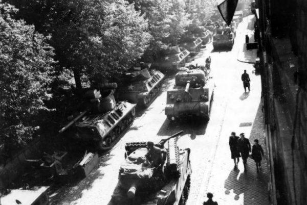 Column of M36 and M4 Belgium October 1944