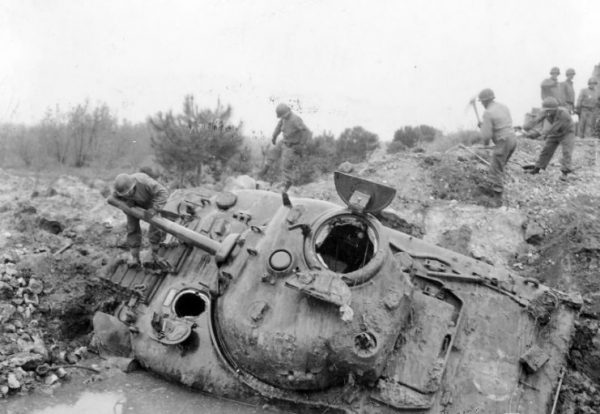American 1st Armored Division M4A1 Sherman Wreck Littoria Italy 1944.