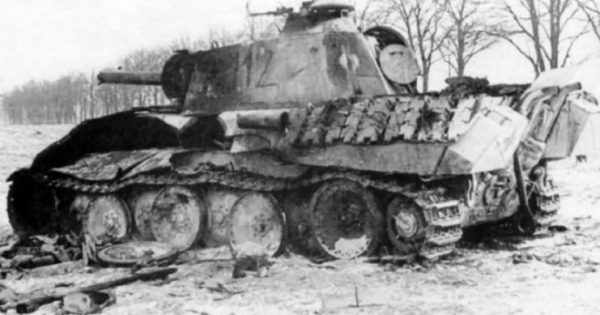 Destroyed Panther Ausf. A number 112 of the Fallschirm-Panzergrenadier Division 2 Hermann Göring. East Prussia February 1945