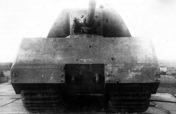 Front view of the Maus at Soviet Union's tank proving ground Kubinka. (Note impact marks from Soviet armor tests).