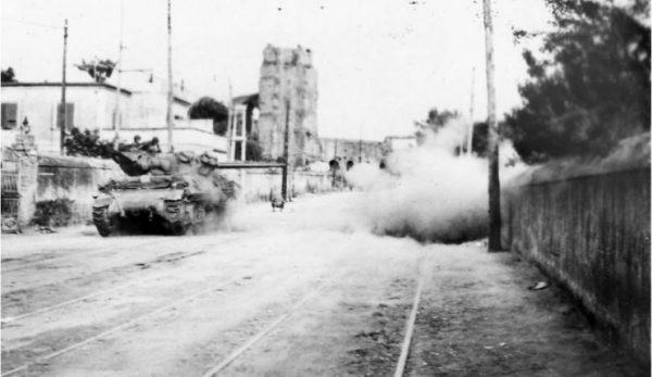 M10 blasts German machine gun position in Rome 6 June1944