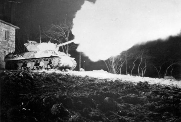 M10 of the 5th Army firing at night, 20 February 1945