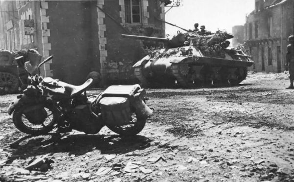 M10 Tank Destroyer And Harley Davidson In Percy France 08 1944
