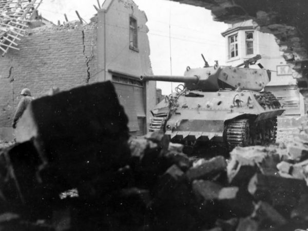 M10 with Hedge Cutter 803rd Tank Destroyer Battalion Übach Germany 1944