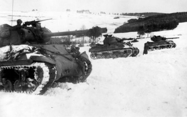 M36 and M4 of the 3rd Armored Division, Houffalize, Belgium, Battle of the Bulge, January 1945