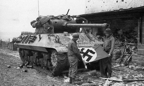 M36 destroyer crew with a German swastika flag