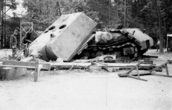 Maus V2 after sabotage at Kummersdorf 1945