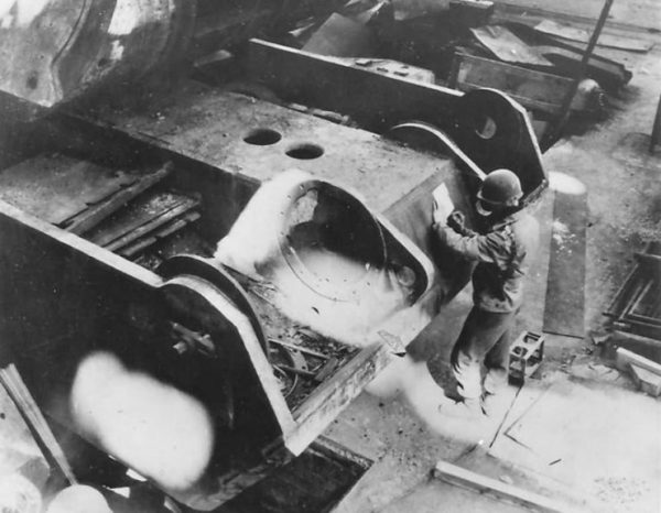 Maus hull at the Krupp factory in Essen, 1945.