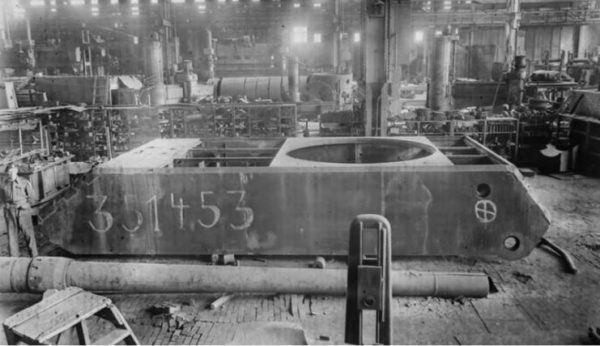 Maus hull Nr. 351453 at the Krupp factory in Essen, 1945