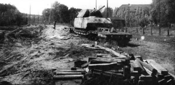 Maus loaded onto a railway car, 1945