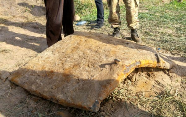 A large piece of armor plate, most likely from the turret.