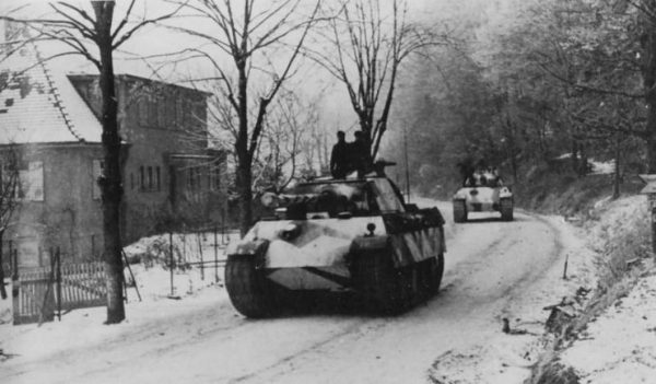 Panther Ausf G tanks of 10th SS Panzer Division Frundsberg winter camo Alsace December 1944