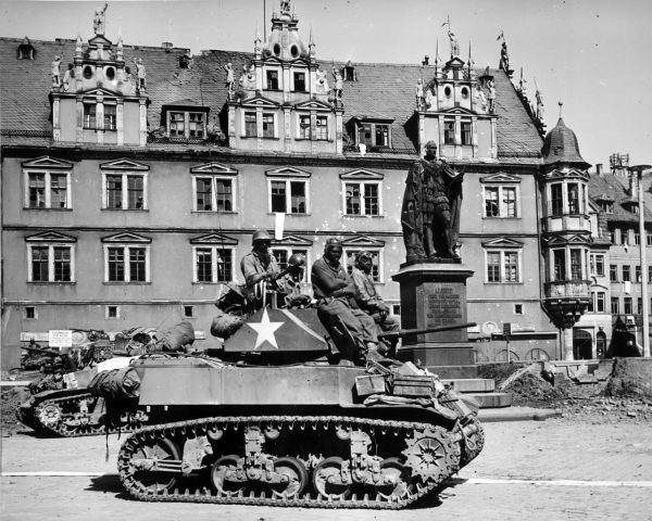 Tankers from Company D awaiting the next mission in Coburg, Germany, April, 1945