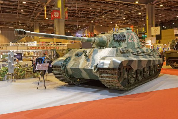 Like almost all other Allied tanks, the Sherman was no match for the heavier German tanks, like this King Tiger. Image by Thesupermat CC BY-SA 4.0
