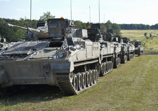 A line up of British Warrior armored vehicles. OGL