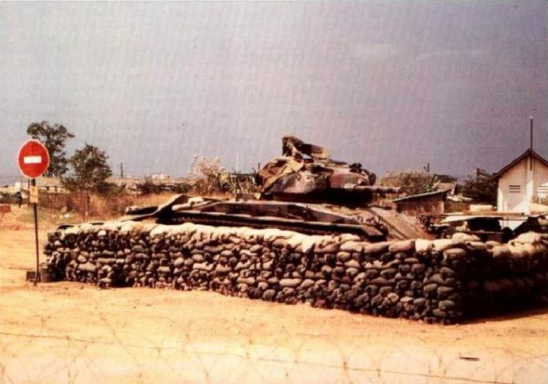 M24 tank serving as a guard post in Vietnam