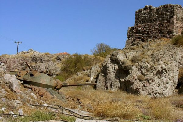 Remains of an M24 Chaffee tank in Sigri, Lesbos. By Petr Kraumann CC BY 3.0