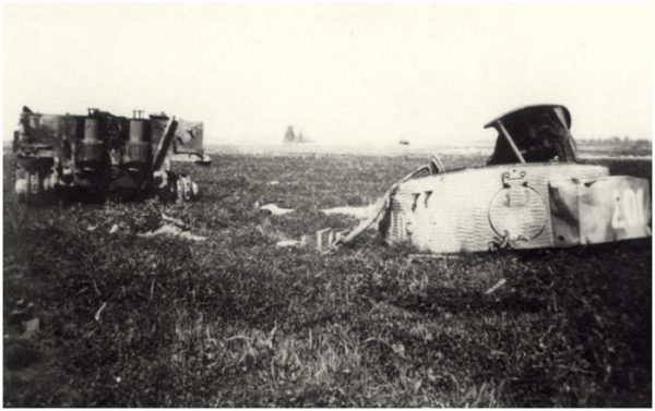 The wreckage of Michael Wittmann's Tiger 007 near Gaumesnil a year after it was destroyed.