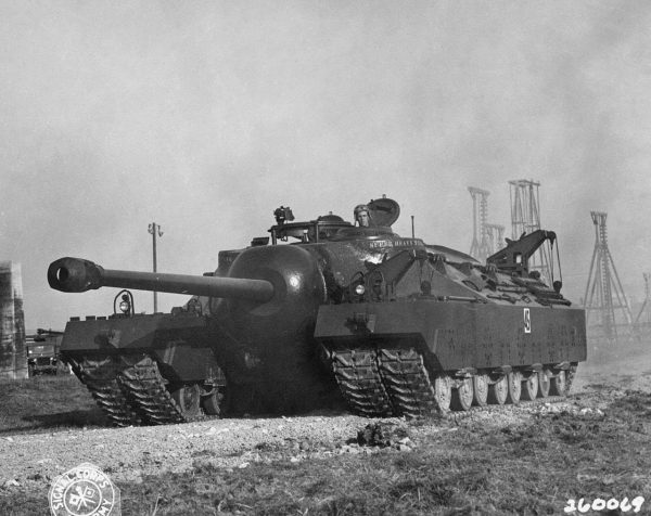 The T28 Super Heavy Tank at Aberdeen proving grounds in 1946.