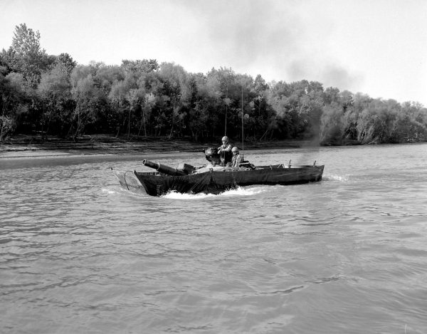 The Cold War M551 using its amphibious capabilities.