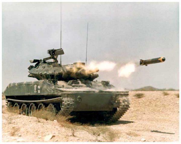 An XM551 Sheridan firing the Shillelagh missile.