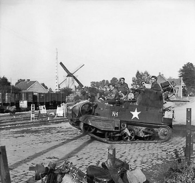 A heavily-loaded Universal carrier during the advance of 3rd Division, 19 September 1944