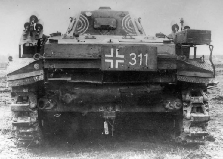 A Panzer II Flamingo code 311, rear view captured by Soviet troops.