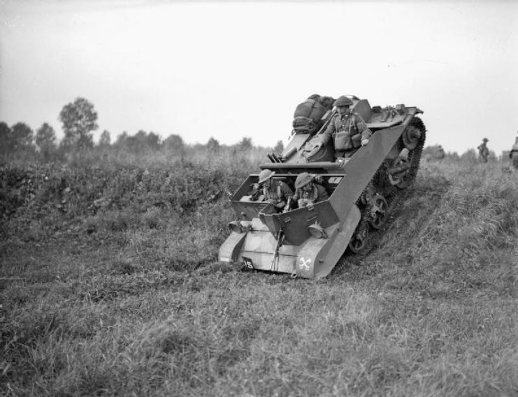 Bren Carrier No.2. Note a single rear compartment for one soldier with a sloping rear plate.