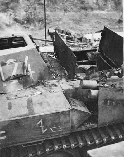 "Destroyed ""Flamingo"" code 124 of the 19th Panzer-Division."