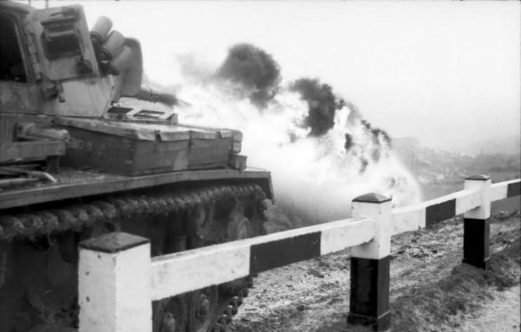 Flammpanzer III in action somewhere in Italy